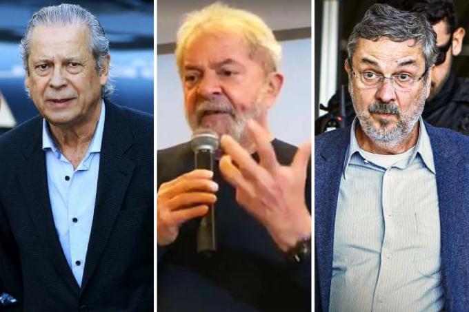 O trio que levou o PT ao poder atrás das grades-Lula-Palocci-Dirceu