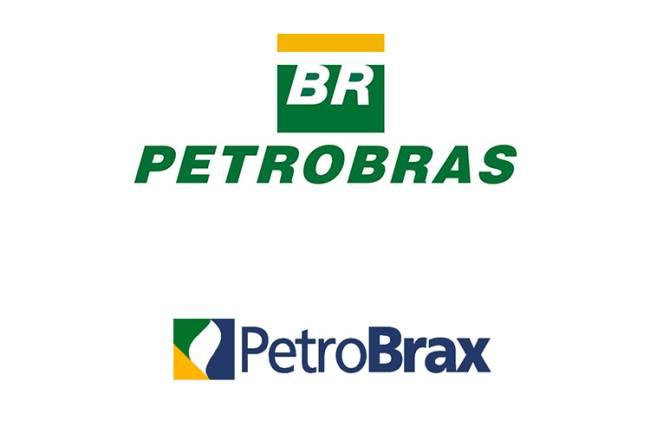 """Os logos da estatal: o tradicional e o 'PetroBrax', tentativa do governo FHC de """"internacionalizar"""" a empresa e que foi acusada de ser balão de ensaio para a privatização"""