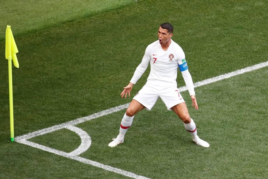 Cristiano Ronaldo abre o placar para Portugal na partida contra o Marrocos em Moscou - 20/06/2018