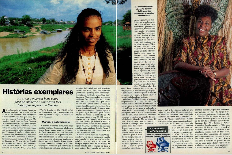 Matéria de VEJA sobre Marina Silva, de 19 de outubro de 1994