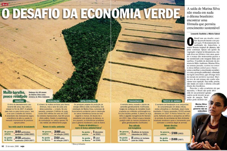 Matéria de VEJA sobre Marina Silva, de 21 de maio de 2008