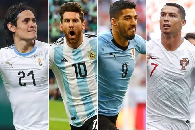 Edinson Cavani, Lionel Messi, Luis Suárez e Cristiano Ronaldo