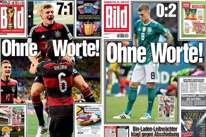 Jornal alemão Bild recria capa de 2014 após eliminação da Alemanha