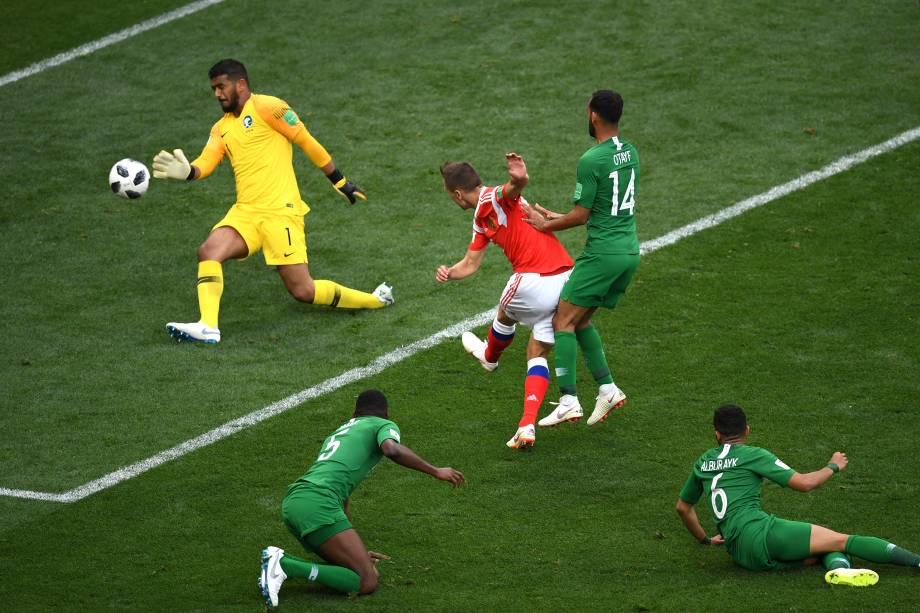 Denis Cheryshev, da Rússia, marca o segundo gol da partida de abertura da Copa do Mundo 2018 contra a Arábia Saudita, no Estádio Luzhniki, em Moscou - 14/06/2018