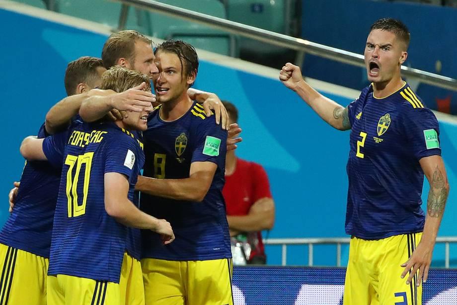 Ola Toivonen, da Suécia, comemora após marcar gol contra a Alemanha, em partida válida pelo grupo F da Copa do Mundo - 23/06/2018