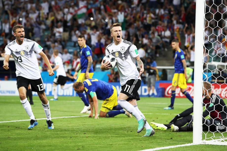 Marco Reus comemora após empatar o jogo para a Alemanha, em partida contra a Suécia, válida pelo grupo F da Copa do Mundo - 23/06/2018