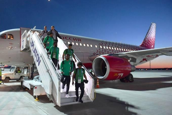 Pane em voo da seleção da Arábia Saudita