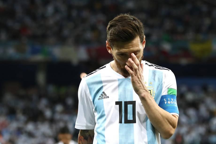 Lionel Messi se lamenta após a Croácia abrir o placar contra a Argentina - 21/06/2018