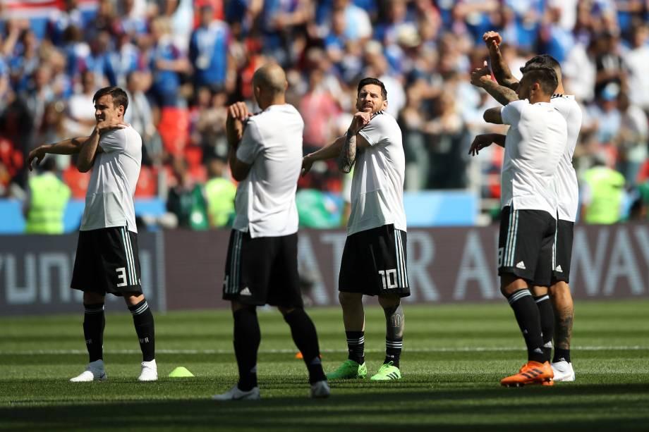 Seleção da Argentina faz aquecimento antes da partida contra a Islândia no estádio Spartak em Moscou - 16/05/2018
