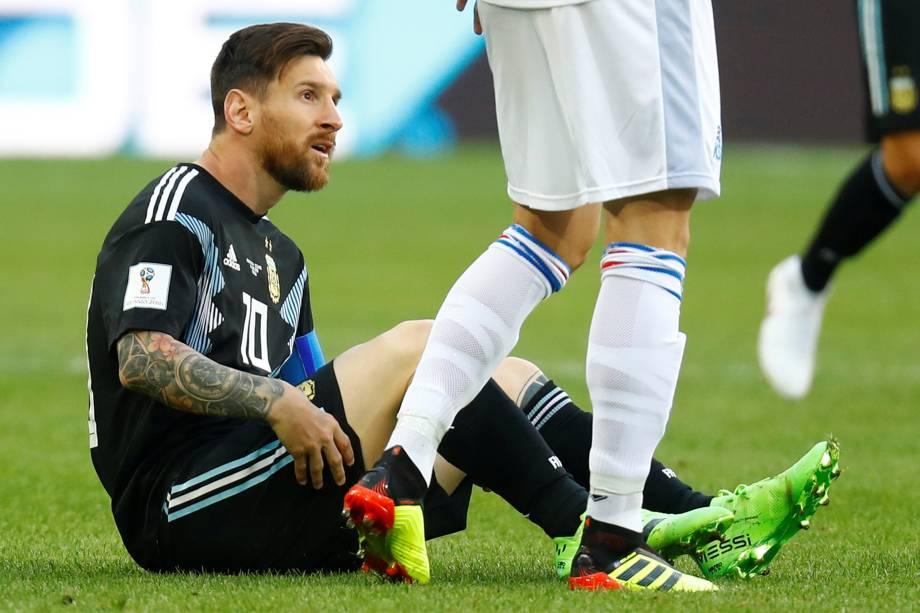 O argentino Lionel Messi durante partida contra a Islândia, no estádio Spartak em Moscou - 16/06/2018