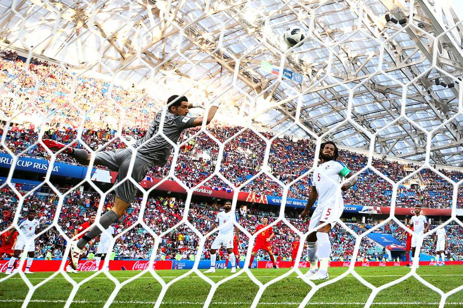 Vista de trás do gol onde marcou o belga Dries Mertens , contra o Panamá, no estádio Fisht