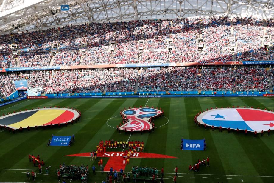 Bélgica e Panamá se enfrentam pelo grupo G da Copa do Mundo no estádio Fisht em Sochi - 18/06/2018