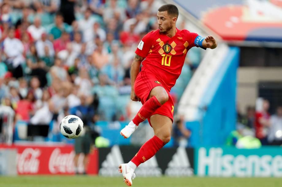 O meia Eden Hazard da Bélgica domina com categoria durante a partida contra o Panamá válida pelo Grupo G da Copa do Mundo no estádio Fisht, em Sochi - 18/06/2018
