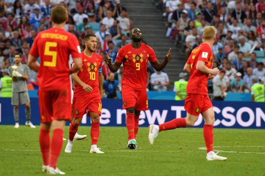 O atacante belga, Romelu Lukaku, comemora o gol marcado contra o Panamá durante o confronto do Grupo F