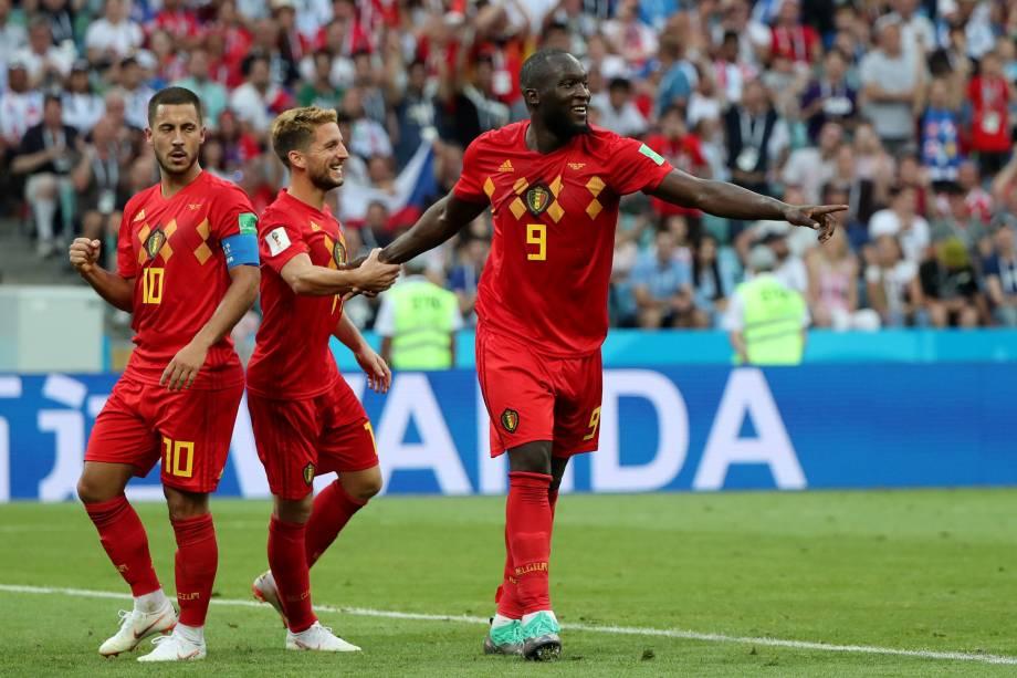 Romelu Lukaku, da Bélgica, comemora seu segundo gol na partida contra o Panamá