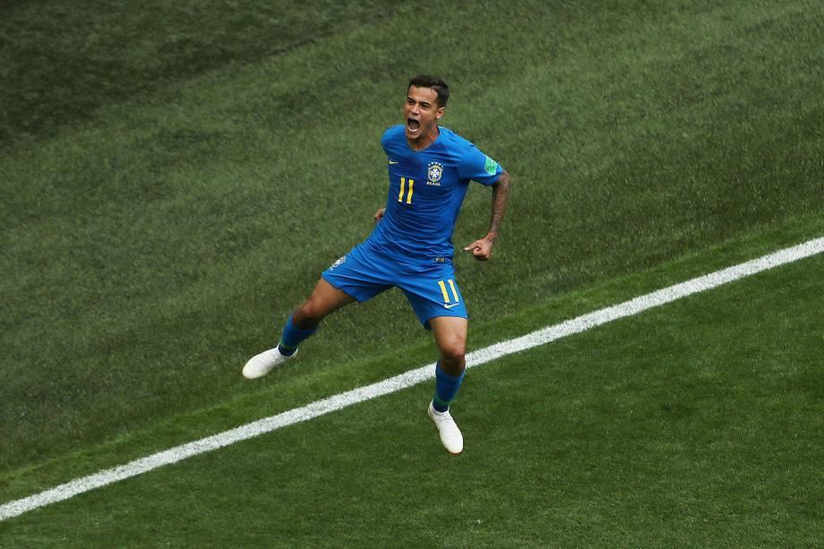 Philippe Coutinho, do Brasil, comemora o gol marcado nos acrescimos da partida contra a Costa Rica - 22/06/2018