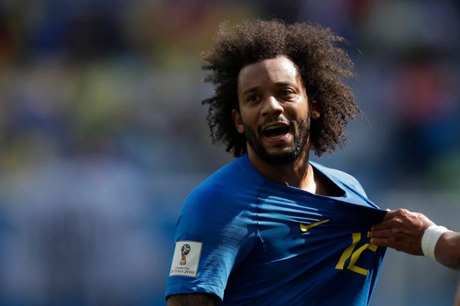 O lateral Marcelo reage durante o jogo contra a Costa Rica, válido pelo grupo E - 22/06/2018