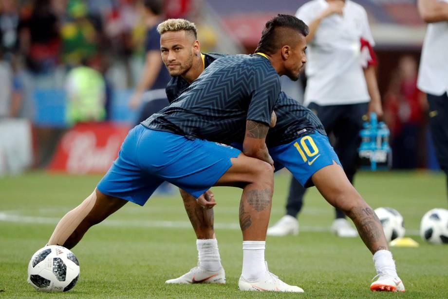 Neymar Jr. e seleção brasileira se aquecem antes de partida contra a Sérvia - 27/06/2018
