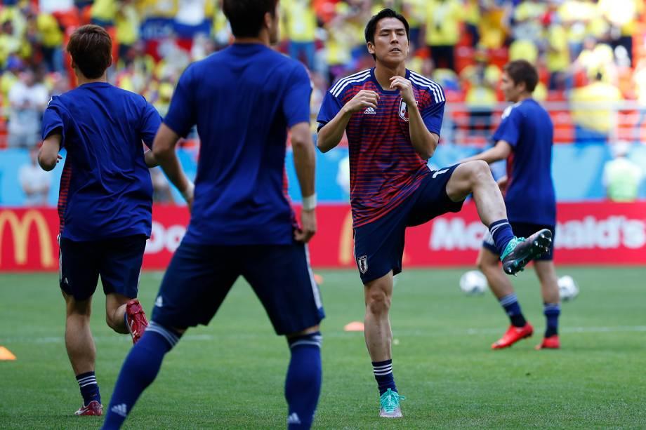 O meio-campista japonês Makoto Hasebe se prepara o início da partida contra a Colombia, válida pelo Grupo H da Copa do Mundo Rússia 2018