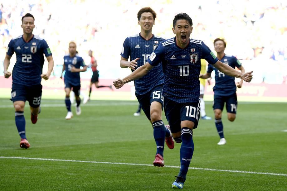 O japonês Shinji Kagawa comemora o gol marcado de pênalti no começo da partida contra o Japão