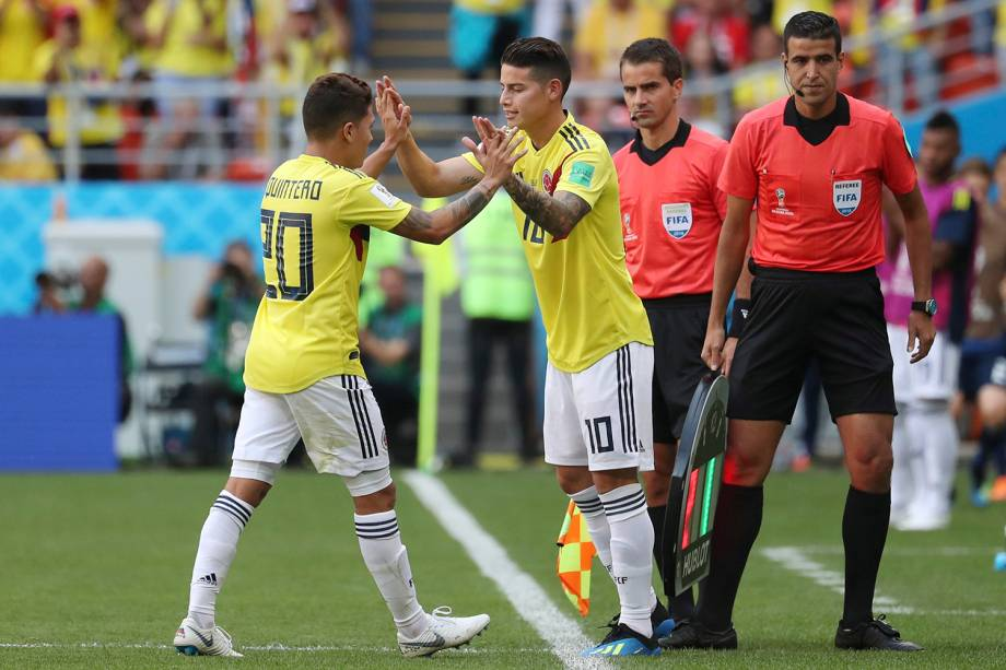 Dúvida para a partida contra o Japão, o colombiano James Rodriguez, artilheiro da última Copa do Mundo, entra em campo no estádio Mordovia Arena