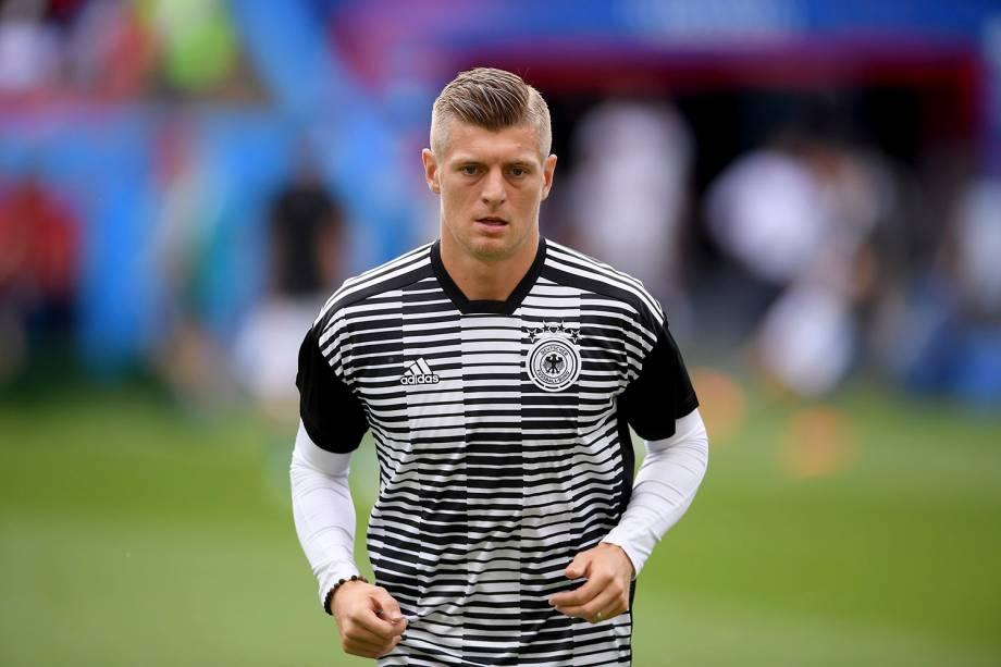 O alemão, Toni Kroos, se aquece para a partida contra a Coréia do Sul, válida pela terceira rodada do grupo F, na Arena Kazan - 27/06/2018
