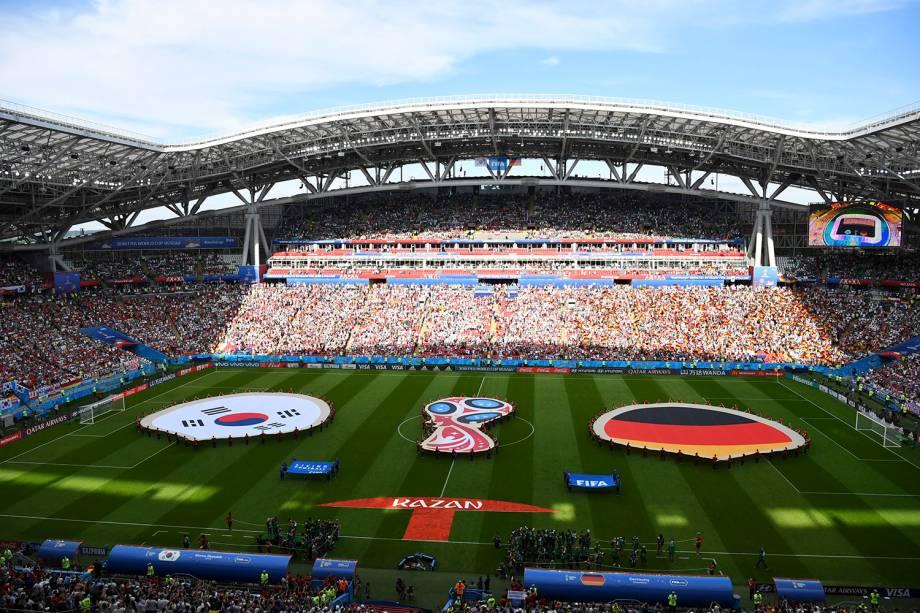 Vista geral do estádio Arena Kazan, que recebe a partida entre Coréia do Sul e Alemanha, durante a terceira rodada do grupo F - 27/06/2018