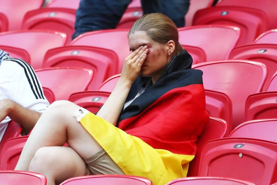 Torcedores lamentam após a Alemanha ser derrotada pela Coreia do Sul por 2 a 0, sendo eliminada na fase de grupos do Mundial - 27/06/2018