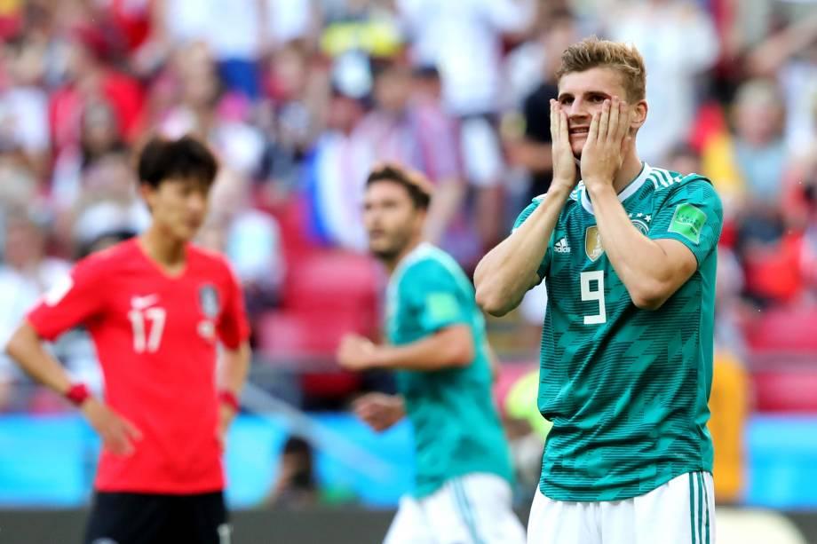 O alemão, Timo Werner, lamenta durante os acréscimos da partida contra a Coréia do Sul - 27/06/2018