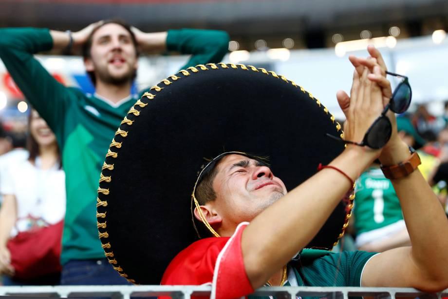 Torcedor comemora no Estádio Lujiniki, após o México vencer a Alemanha por 1 a 0, em partida válida pelo grupo F da Copa do Mundo - 17/06/2018