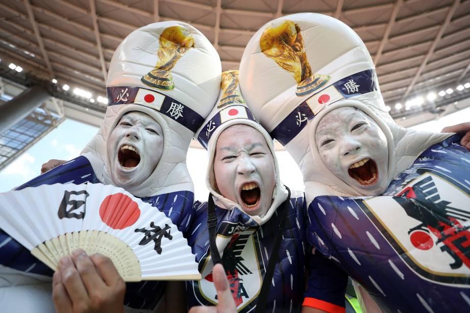 Torcedores japoneses antes de partida contra o Senegal, válida pelo grupo H da Copa do Mundo, realizada em Ecaterimburgo. Asiáticos e africanos empatam por 2 a 2 - 24/06/2018
