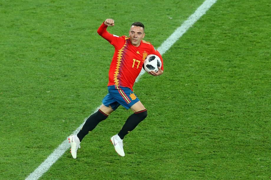 Iago Aspas comemora após marcar gol durante partida entre Espanha e Marrocos, válida pelo grupo B da Copa do Mundo - 25/06/2018