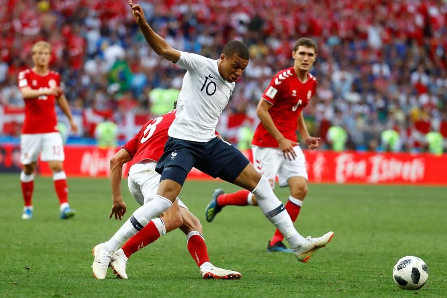 Kylian Mbappe da França durante partida contra a Dinamarca no Estádio Luzhniki - 26/06/2018