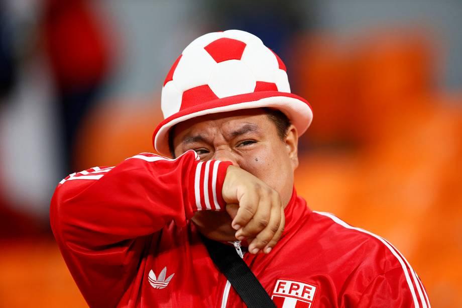 Torcedor peruano lamenta a eliminação da Copa do Mundo Rússia após a derrota para a França na fase de grupos - 21/06/2018