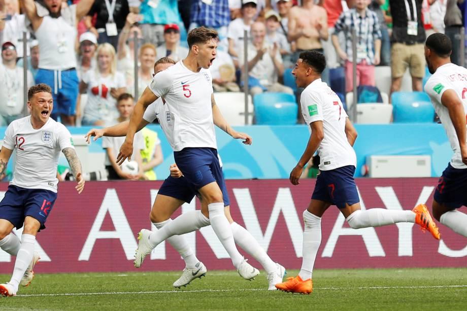 O zagueiro inglês John Stones comemora gol na partida contra o Panamá, válida pela segunda rodada do grupo G em Níjni Novgorod - 24/06/2018