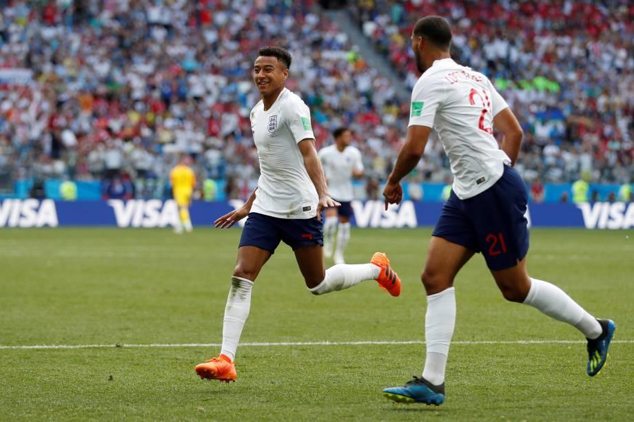 Jesse Lingard comemora o terceiro gol da Inglaterra contra o Panamá, em partida válida pela segunda rodada do grupo G em Níjni Novgorod - 24/06/2018