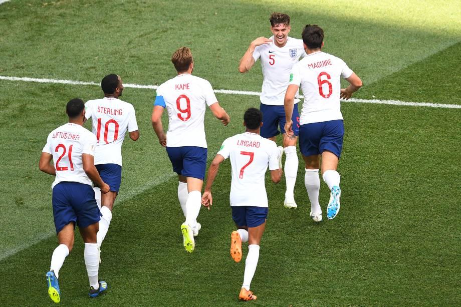 John Stones marca o quarto gol da Inglaterra contra o Panamá, em partida válida pela segunda rodada do grupo G em Níjni Novgorod - 24/06/2018