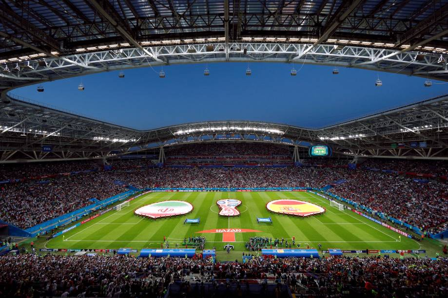 Vista geral da arena Kazan antes da partida entre Irã e Espanha, válida pelo grupo B da Copa do Mundo da Rússia - 20/06/2018