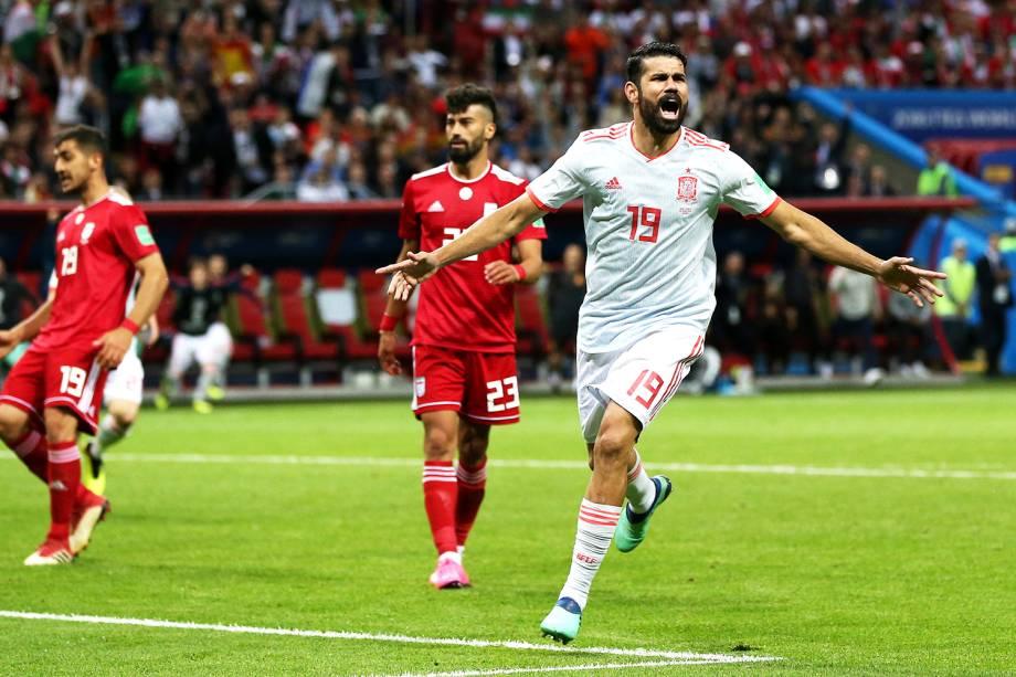 Diego Costa, da Espanha, comemora após marcar gol contra o Irã, em partida válida pelo grupo B da Copa do Mundo, realizada na Arena Kazan - 20/06/2018