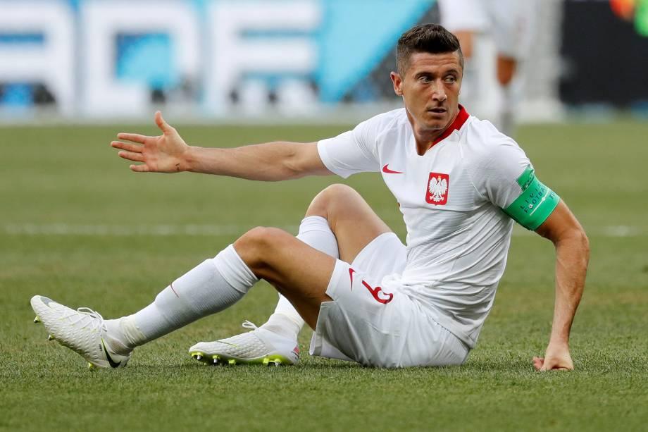 O atacante Robert Lewandowski da Polônia em partida contra o Japão, válida pela terceira rodada do grupo H, na arena Volgogrado - 28/06/2018