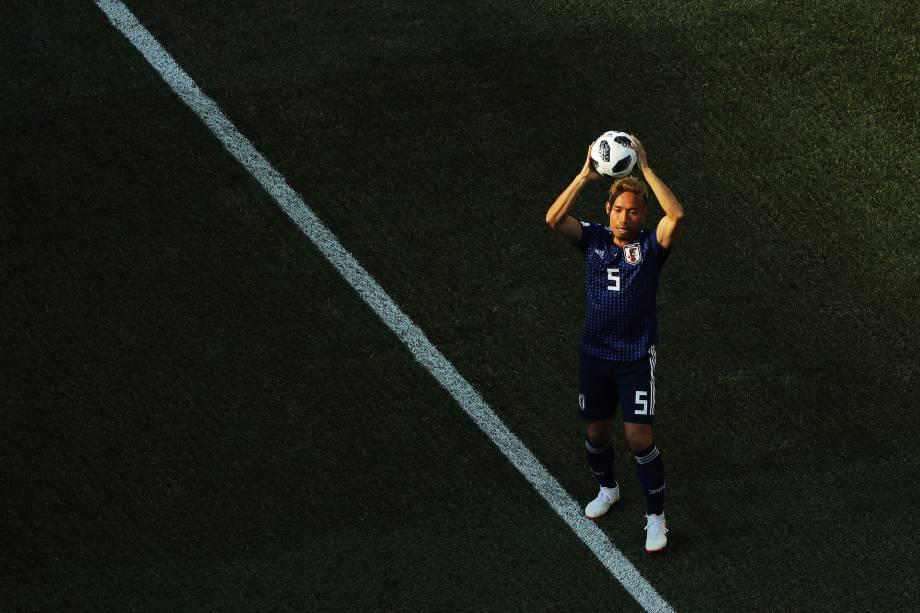 Yuto Nagatomo do Japão durante partida contra a Polônia na terceira rodada do grupo H na arena Volgogrado - 28/06/2018