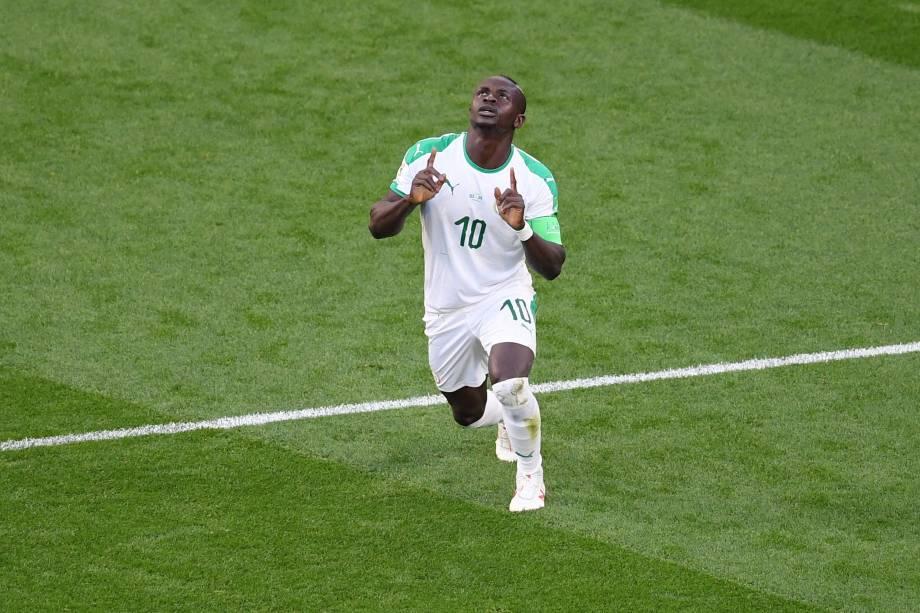 Sadio Mané comemora o gol de Senegal na partida contra o Japão, válida pela segunda rodada do grupo H em Ecaterimburgo - 24/06/2018