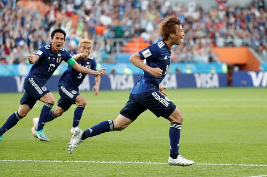 Takashi Inui comemora o gol de empate do Japão na partida contra o Senegal, válida pela segunda rodada do grupo H em Ecaterimburgo