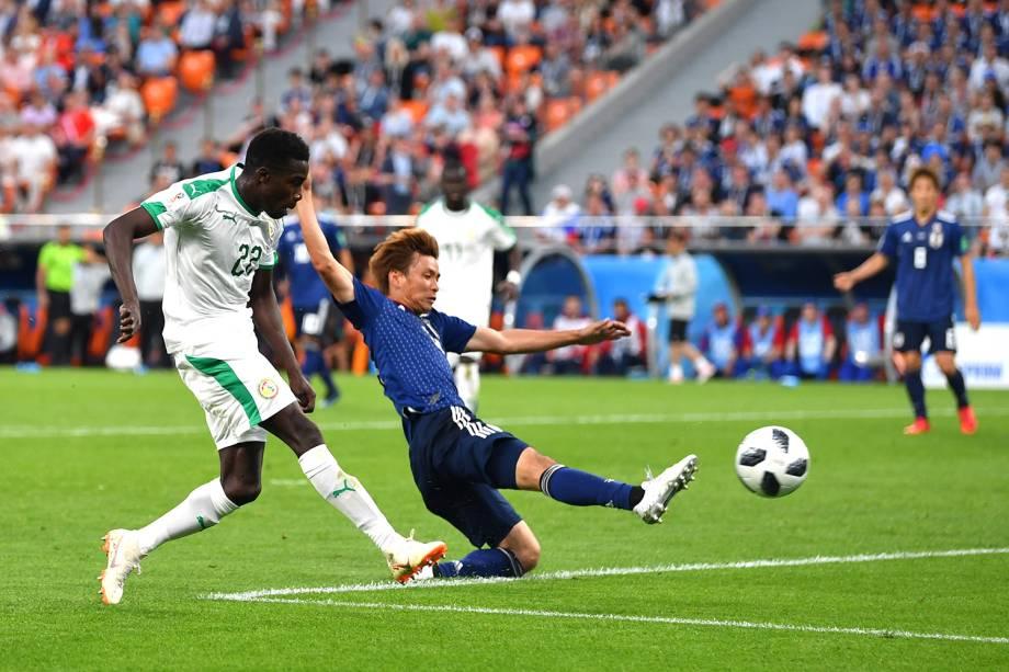 Moussa Wague, do Senegal, marca o segundo gol do time durante a partida contra o Japão, na Arena Ecaterimburgo - 24/06/2018