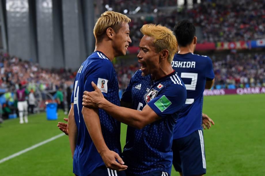 Keisuke Honda comemora o gol de empate do Japão em partida contra o Senegal, válida pelo grupo H em Ecaterimburgo - 24/06/2018