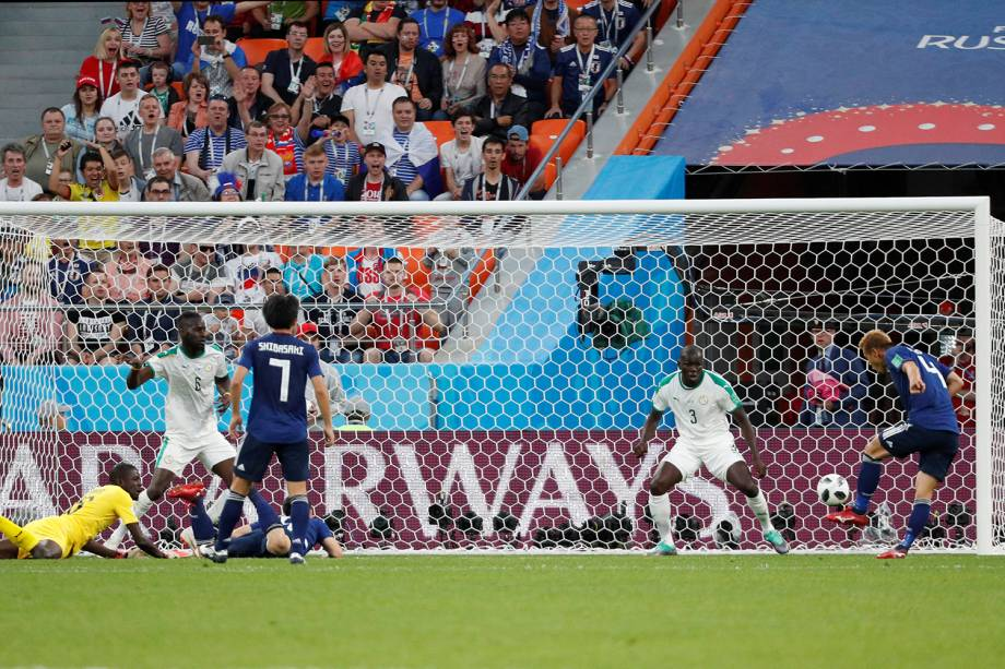 Keisuke Honda marca o segundo gol do Japão e empata a partida contra Senegal, válida pelo grupo H, na Ecaterimburgo Arena - 24/06/2018