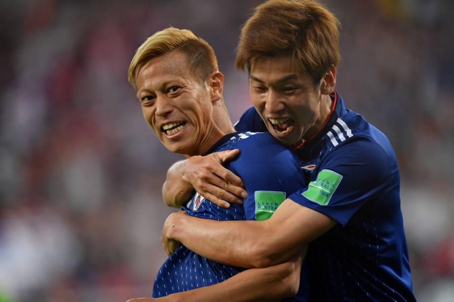Keisuke Honda comemora o gol de empate do Japão em partida contra o Senegal em Ecaterimburgo - 24/06/2018