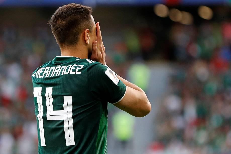 Javier Hernandez do México reage após derrota em partida contra a Suécia - 27/06/2018