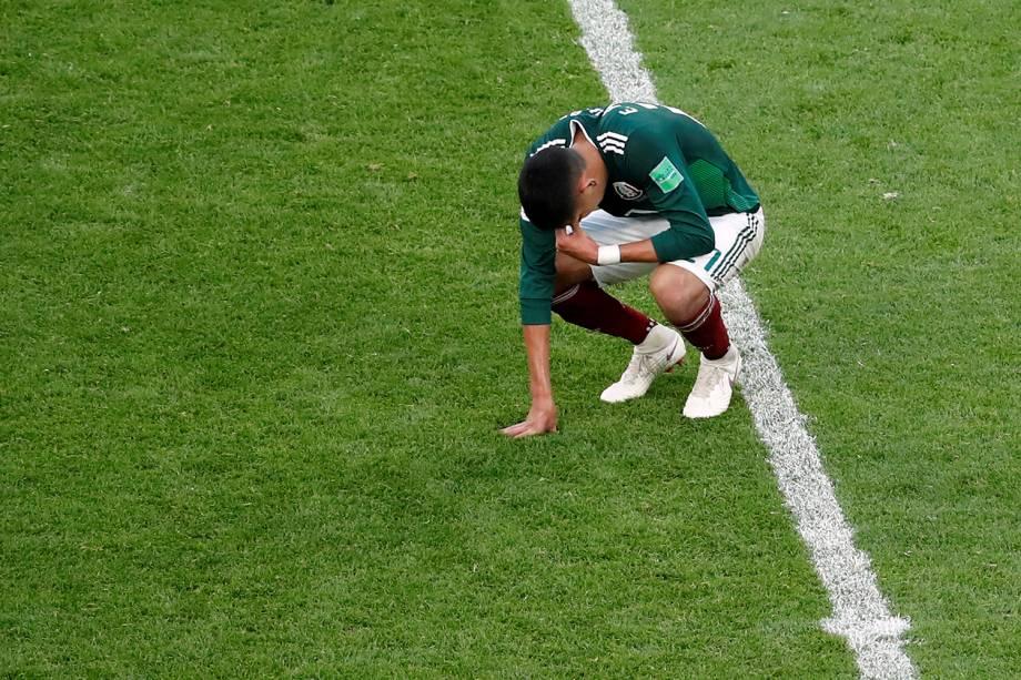 Edson Alvarez do México reage após derrota em partida contra a Suécia - 27/06/2018