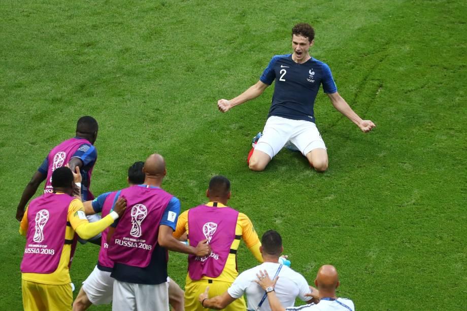 Benjamin Pavard marca o segundo gol da França na partida contra a Argentina, em Kazan - 30/06/2018